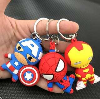 🚚 [ High Positive Rating ] The Avengers Hero Anime Keyring Spiderman 3D Double Side Silicone Keychain Captain Cartoon Keychain Child Gifts Marvel Avenger Iron Man Spiderman Captain America Key chain 209