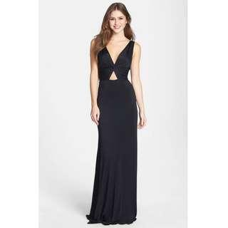 BNTW Black 'Missie' Twist Front Knit Evening Gown/Dress - Small