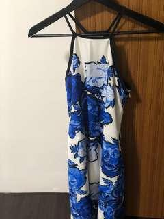 MDS White and Blue Flowery Dress