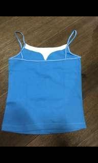 🚚 全新 EMA藍白色純棉細肩帶 小可愛 藍色S