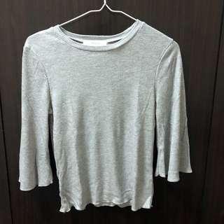 🚚 Meier q 七分袖灰色針織上衣