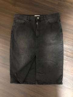 Forever 21 Washed Black Midi Denim Skirt