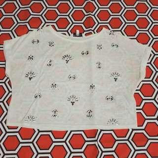 NewLook/Beads/White/Crop top/T-shirt