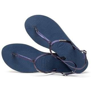 Auth Havaianas You Riviera Metallic Logo Silver + Indigo Blue Sandals Slippers Thongs