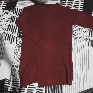 Maroon/Knitted/Long sweater