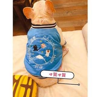 🚚 法鬥 巴哥 特別版型 藍色刺繡 哩厚橫須賀古著厚外套 寵物服飾 保暖 大推(數量極少)
