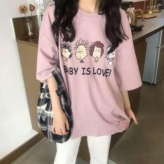 purple/white t shirt