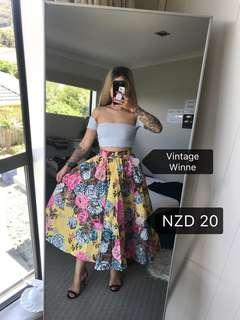 C117 Vintage Mustered Floral Dress