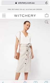 FREE SHIPPING Witchery button up beige linen skirt