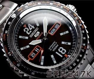 Seiko 5 Sports Automatic 24 Jewels 100M SRP347K1 SRP347K SRP347 Mens Watch
