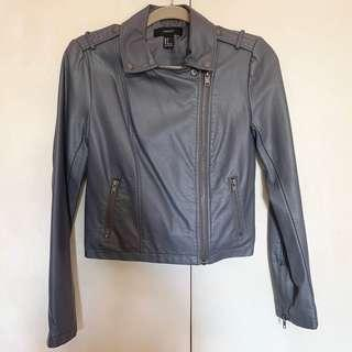 Forever 21 Faux Leather Moto Jacket Gray