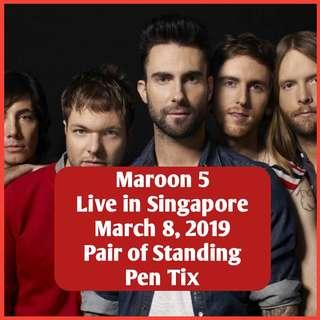 Pair of Tickets for Maroon 5 2019 Standing Pen