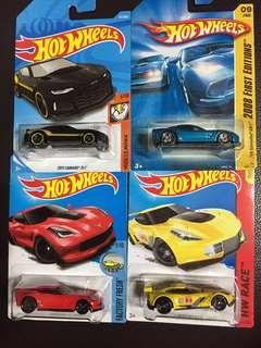 Hot Wheels Camaro ZL Corvette C6 C7 Exotic Race Sport Car Set Lot