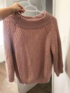 Pink sweater fuzzy wool