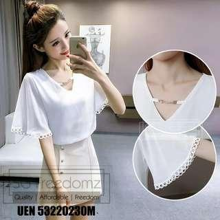 🚚 Chiffon V Neck Ladies White Top