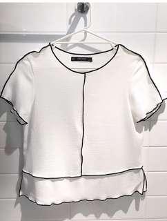 ZARA white top black pipping size S