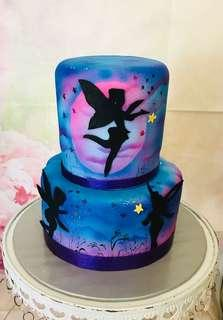 Air brushed fairy cake