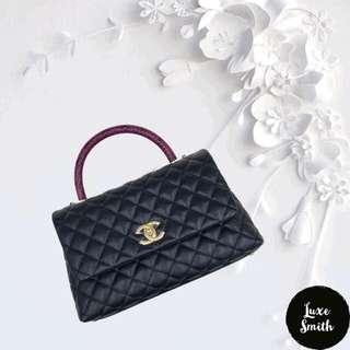 BNIB Chanel Small Coco with Python Handle in Black Caviar and GHW