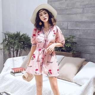 Pink Embroidery Dress (New)