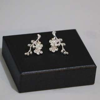 Flower Blossom Floral Stud Earrings 925 Sterling Silver Jewellery