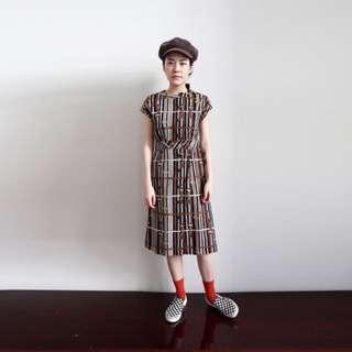 🚚 古著 vintage 南瓜 線條收腰洋裝