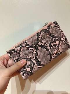 Stradivarius Pink Wallet Snake Skin