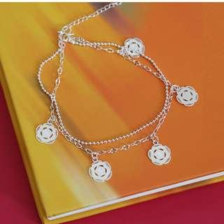 Rose Double Chain Anklet 925 Sterling Silver Jewellery