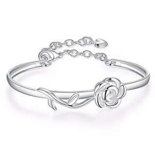 Rose Floral Bangle Braclet 925 Sterling Silver Jewellery