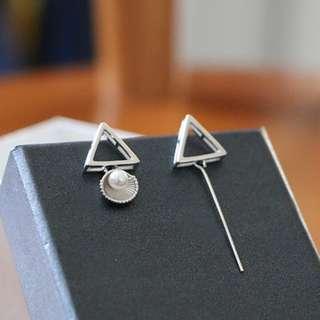 Shell Pearl Drop Stud Earrings 925 Sterling Silver Jewelley