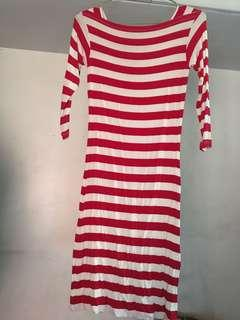 Red Striped 3/4 sleeves fitted midi dress