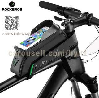 🚚 RockBros Bicycle top tube bag with  Phone Holder