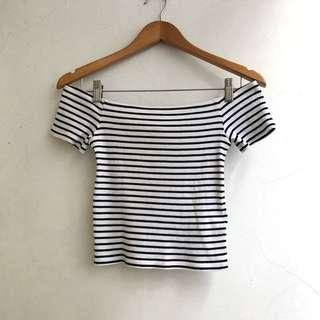 H&M - Striped Sabrina Top
