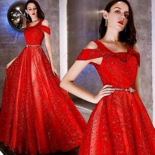 Red cold shoulder dress / evening gown / Wedding Gown