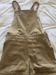 Beige/tan denim overalls
