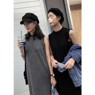 [SALE] Black Mock Neck Knitted Basic Sleeveless Dress