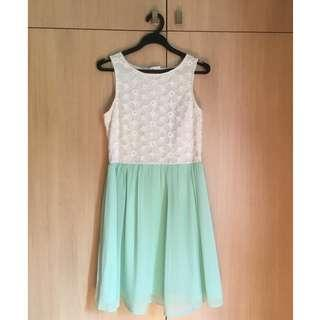 🚚 New Look Floral White & Mint Green Dress