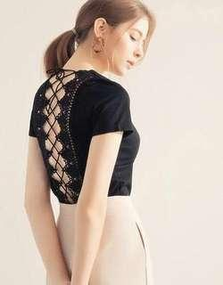 🚚 Airspace V-Neck Lace Back Ribbon Crop Top