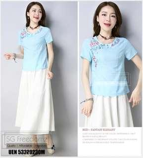🚚 Ethnic Style Ladies Embroidered Top (Cheongsam Inspired)