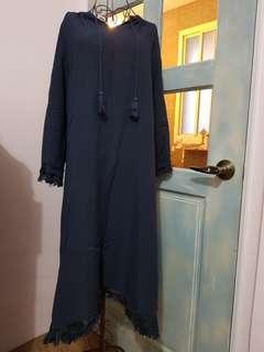🚚 深藍色流蘇洋裝