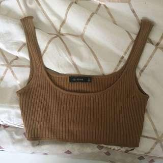 Glassons- Nude brown ribbed crop