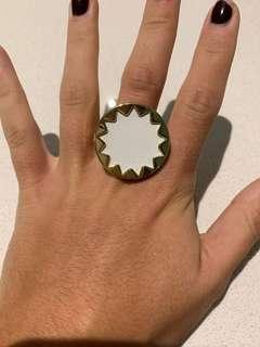 HOUSE OF HARLOW 1960 14k gold plated medium white sunburst ring