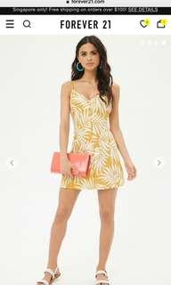 BNWT Forever 21 Leaf Print Yellow Cami Sun dress