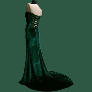 FOR RENT emerald green velvet tube gown