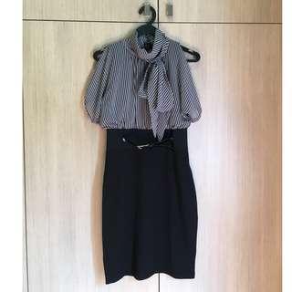 🚚 MORGAN Pinstriped Ribbon Collar Dress
