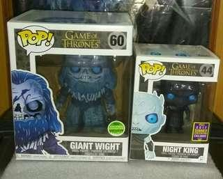 """🚚 Game of Thrones Night King Translucent & Giant Wight 6"""" Funko Pop Bundle"""