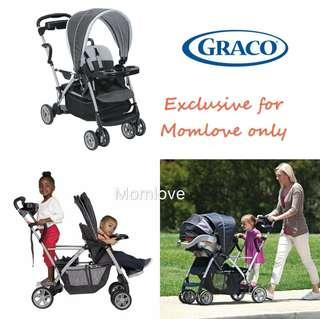 Ready Stock ! *USA Imported* Brand New Graco Roomfor2 Click Connect Stand and Ride Stroller, Gotham (Twin, Double Stroller for Baby&Toddler) *Limited Time only*