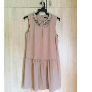 🚚 OASIS Camel Brown Bejeweled Collared Dress