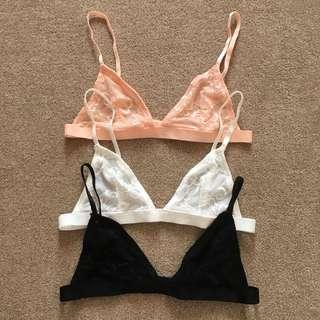 3 lace bralettes size small
