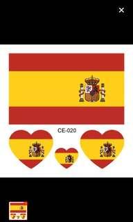 Travel Spain flag tattoo (8 pads)