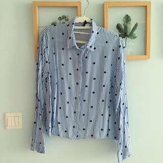 Brand New H&M Polka Soft Collared Shirt